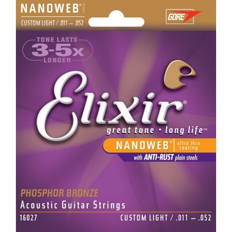 Elixir E11027 Nanoweb Custom Light 11-52 [Corzi chitară]