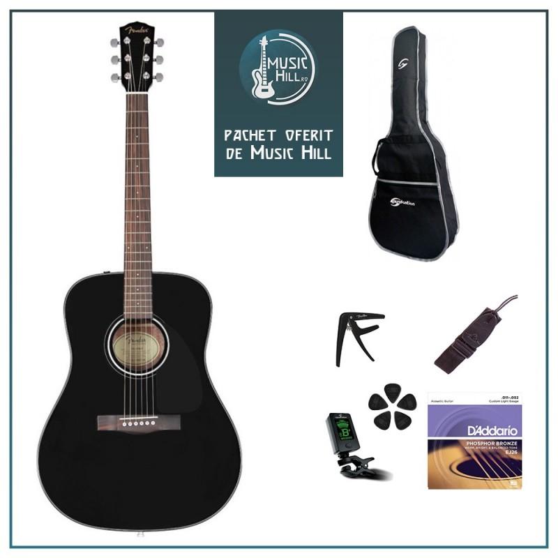 Set chitara acustica Fender CD-60S Black