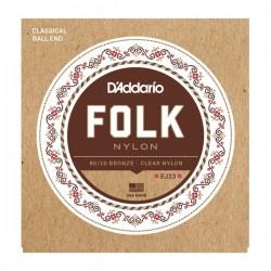 Corzi chitara acustica D'Addario EJ33 Folk Nylon
