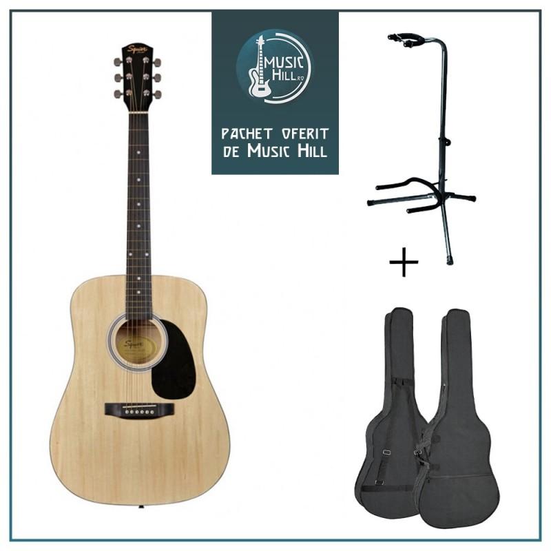 Squier Fender SA-105 Natural [Chitară acustică + husă + stativ]